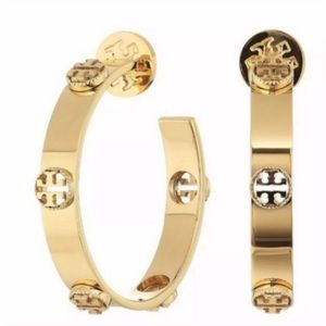 Last Pair! Tory Burch Gold Plated Logo Loved Hoops